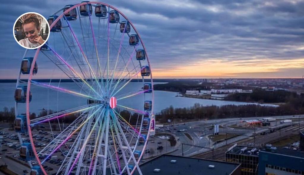 Päike kaob silmapiiri taha ehk Chilli-Kristiine pöörlemas Skywheel of Tallinn vaaterattal